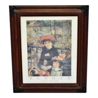 Vintage Framed Renoir Woman and Child Print For Sale