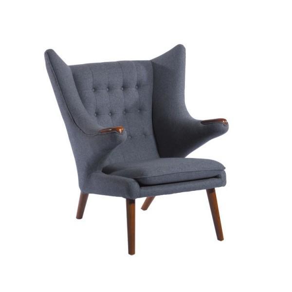 Replica Hans Wegner Style Gray Papa Bear Chair - Image 4 of 5