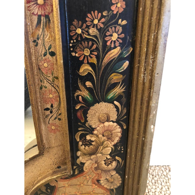 1940s Venetian Hand Painted Rectangular Mirror For Sale - Image 5 of 10