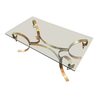 Mid-Century Modern Brass Coffee Table For Sale