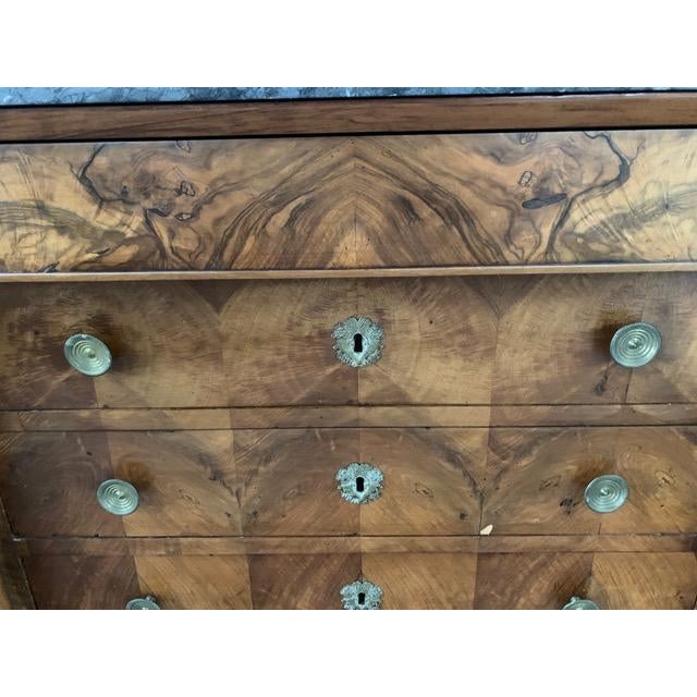 19th Century French Louis Philippe Bookmatched Commode With Original Marble Top For Sale - Image 4 of 7