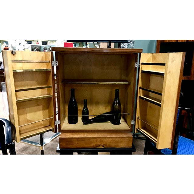 Art Deco Wooden Cabinet on Metal Stand - Image 9 of 9