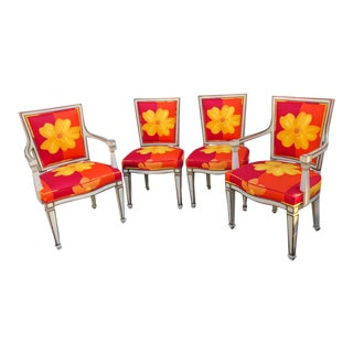 Set of 4 Karges Hollywood Regency Dining Chairs W Marimekko Style Cushions For Sale