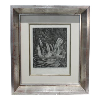 """American Art Deco Etching """"Girls Bathing in Craesor Gym"""" 3/30 Ed by M. E. Groom 1920s For Sale"""