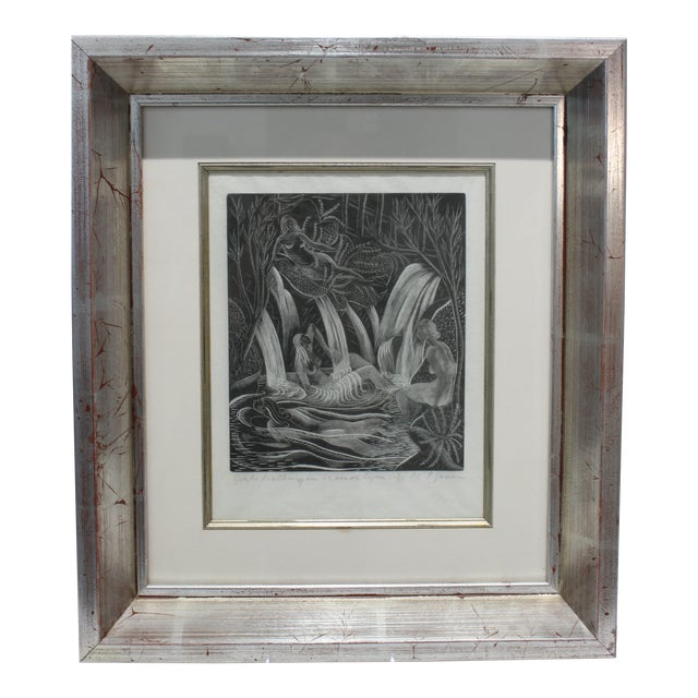 "American Art Deco Etching ""Girls Bathing in Craesor Gym"" 3/30 Ed by M. E. Groom 1920s For Sale"