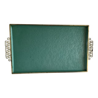 Midcentury Asian Enamel Decor Tray For Sale