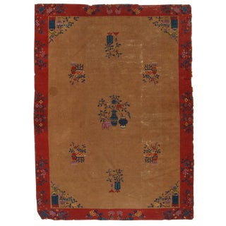 Early 20th Century Antique Chinese Peking Hand-Knotted Rug - 6′3″ × 8′6″ For Sale