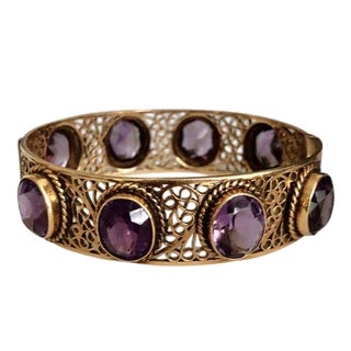 Vintage 14k Gold Amethyst Filigree Bangle Bracelet For Sale