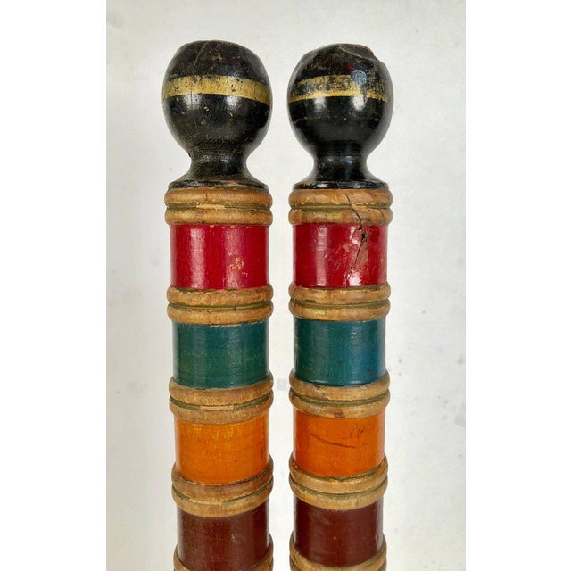 Antique and Vintage Colorful Croquet Posts in Custom Block Stands - Set of 10 - Image 9 of 11