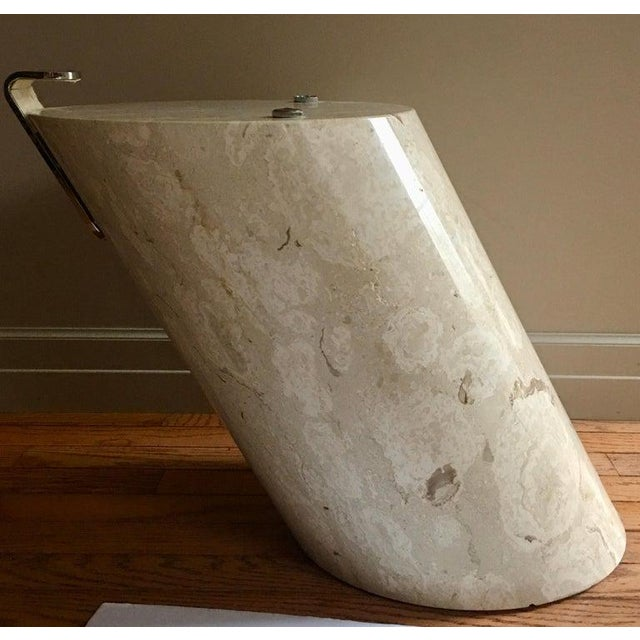 Italian Marble and Oval Glass Cantilevered Coffee Table For Sale In Philadelphia - Image 6 of 12