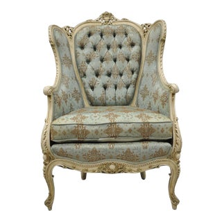 Antique French Louis XV Provincial Style Cream Painted Bergere Chair