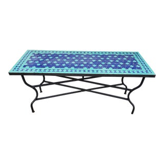 Moroccan Rectangular Blue/Turquoise Mosaic Table For Sale