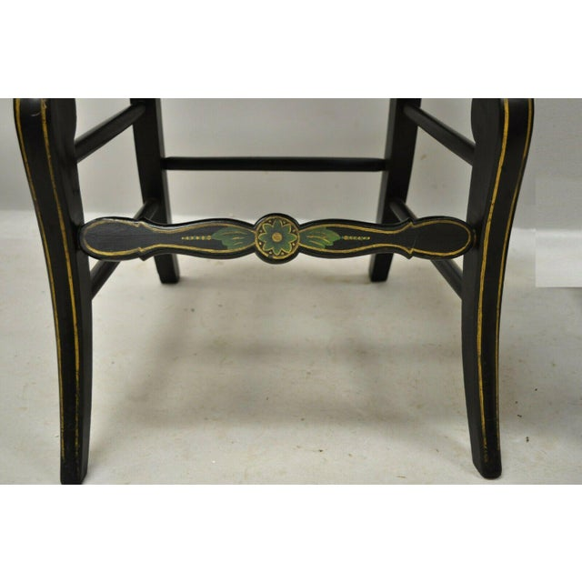 19th Century 19th Century Antique Hitchcock Style Black Hand Painted Rush Seat Side Chairs - a Pair For Sale - Image 5 of 12