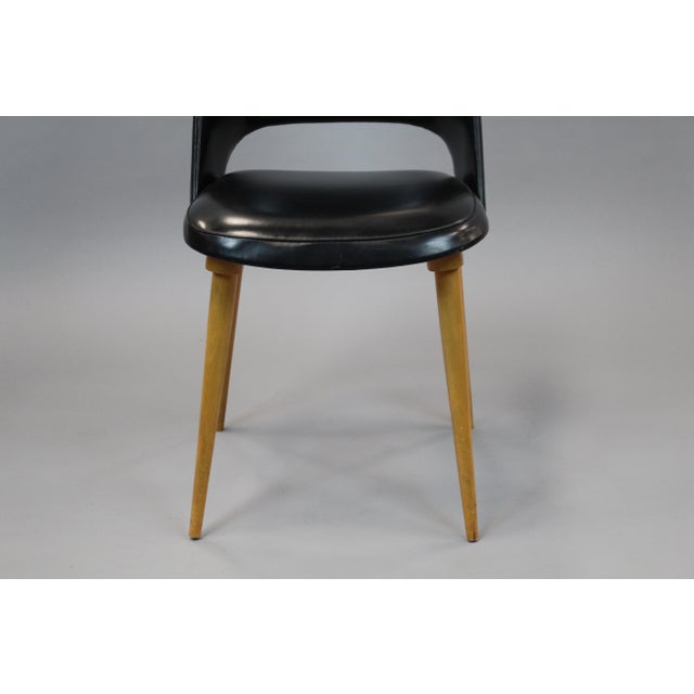 Mid-Century Vinyl Noir Side Chairs - a Pair - Image 6 of 6