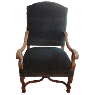 19th Century French Louis XIV Style Mohair Upholstered Armchair