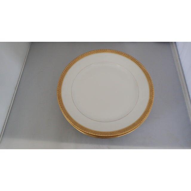 Elegant Gold Rim Dinner Plates S/5 - Image 4 of 7