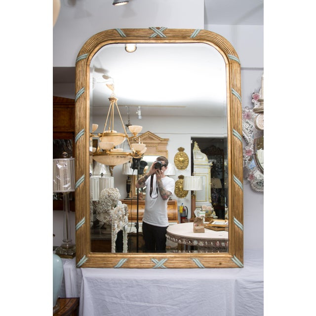 Glass French Giltwood Mirror with Turquoise Accents For Sale - Image 7 of 7