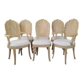 Palm Beach / Hollywood Regency Style Shell Back Dining Chairs Set of - 6 . For Sale