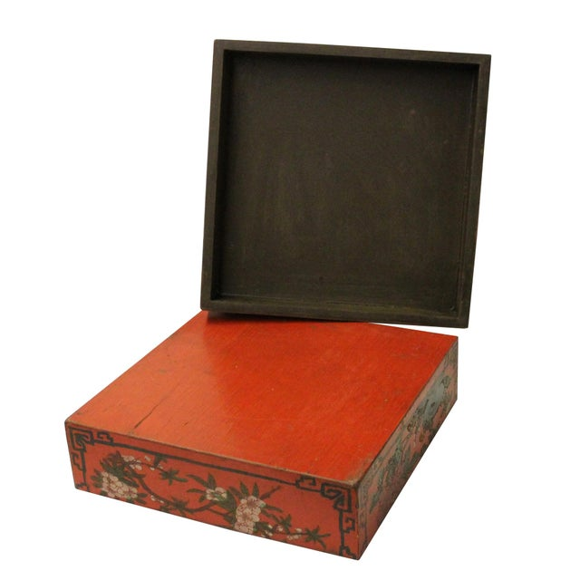 2010s Chinese Distressed Red Characters Graphic Square Shape Box For Sale - Image 5 of 7