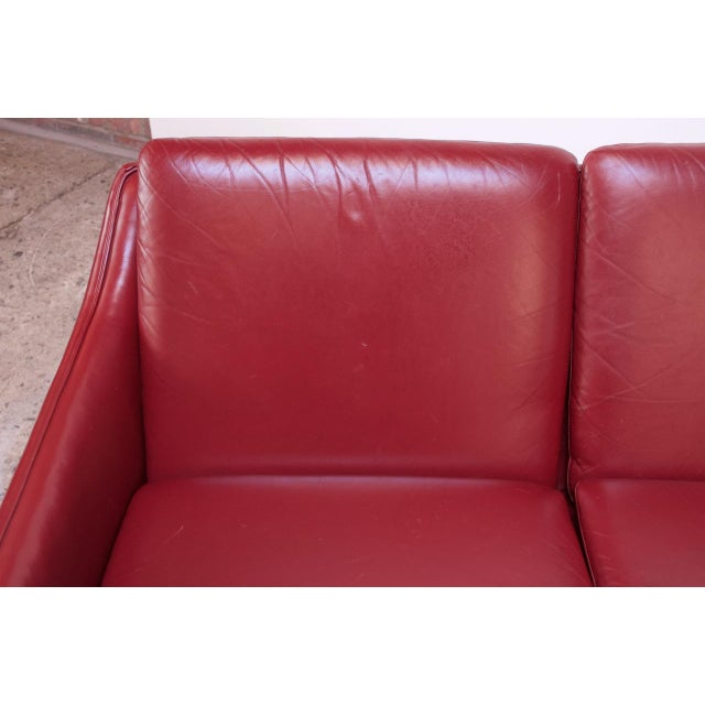 Wood Danish Modern Cranberry Leather Settee by Hans Olsen For Sale - Image 7 of 13