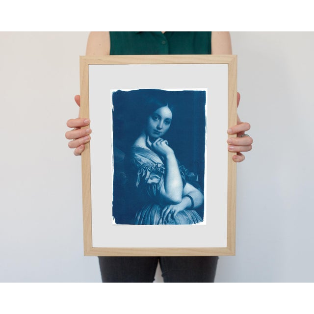 Ingres, Portrait of a Young Girl, Handmade Cyanotype on Watercolor Paper, Limited Serie, A4 For Sale - Image 4 of 7