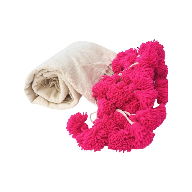 Moroccan Pink Braided Pom Pom Wool Blanket - Image 1 of 4