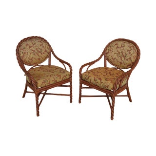 McGuire of San Francisco Pair Painted Twist Rattan Armchairs For Sale