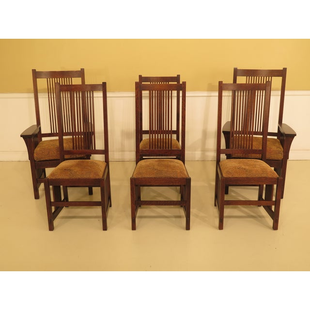 496576cad3 Stickley Mission Oak High Back Dining Room Chairs - Set of 6 For Sale -  Image