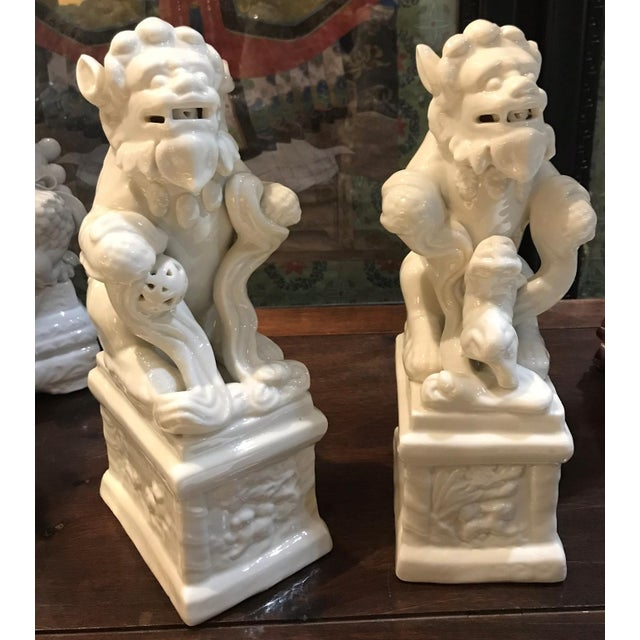 Ceramic 1950s Blanc De Chine Ceramic Foo Dogs - a Pair For Sale - Image 7 of 7