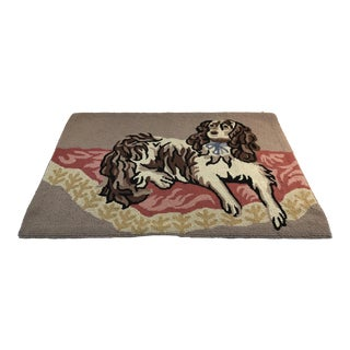 1980s Small Cavalier King Charles Spaniel Dog Hooked Rug - 1′11″ × 2′12″ For Sale