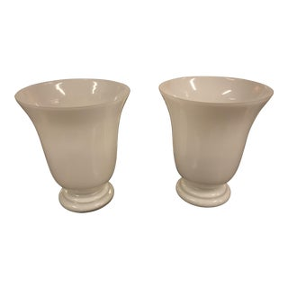 s.c.e. Lighting of France, White Art Glass Vase Lamps, a Pair - Vintage For Sale