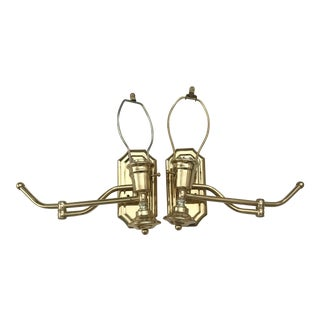 Mid Century Brass Swing Out Arm Wall Lamps - a Pair For Sale