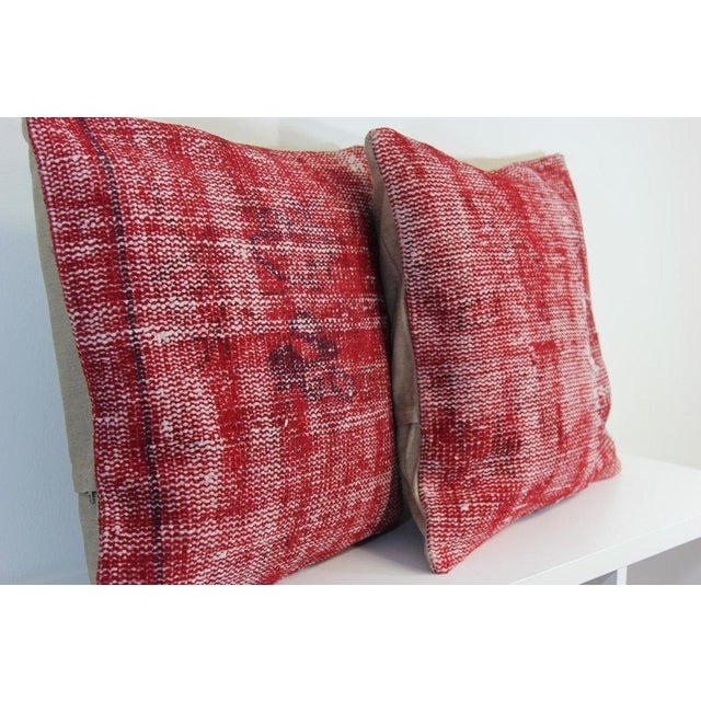 Red Over-Dyed Rug Pillow Covers - A Pair - Image 7 of 7