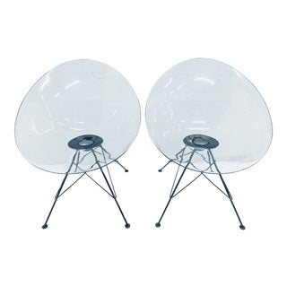 "Pair of Philippe Starck Clear Ghost ""Eros"" Chairs for Kartell For Sale"