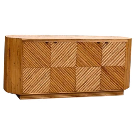 Vintage Split Bamboo Cabinet or Buffet For Sale