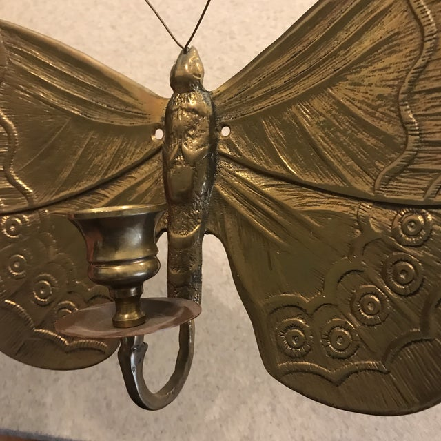 1970s 1970s Boho Chic Brass Butterfly Wall Candle Holder For Sale - Image 5 of 13