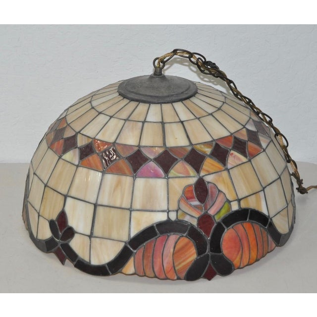 Stained Glass Dome Pendant Lamp c.1950s - Image 2 of 4