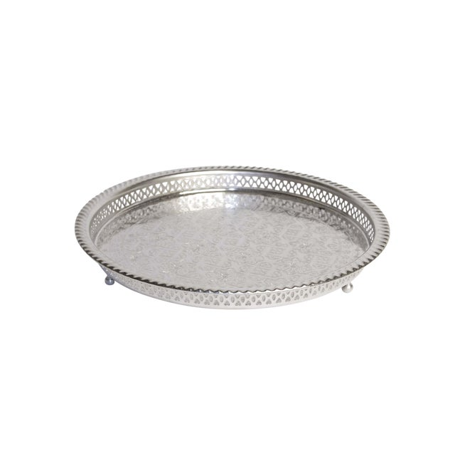 Silver Moroccan Serving Tea Tray - Image 5 of 5