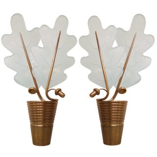 Pair of French Bronze Acorn and Glass Oak Leaf Sconces