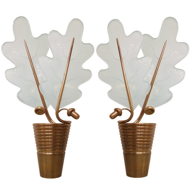 Pair of French Bronze Acorn and Glass Oak Leaf Sconces For Sale