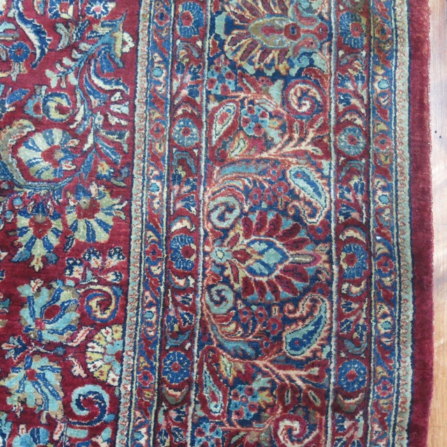 """Islamic Antique Red & Blue Persian Sarouk Rug - 10'4"""" x 20'6"""" For Sale - Image 3 of 8"""