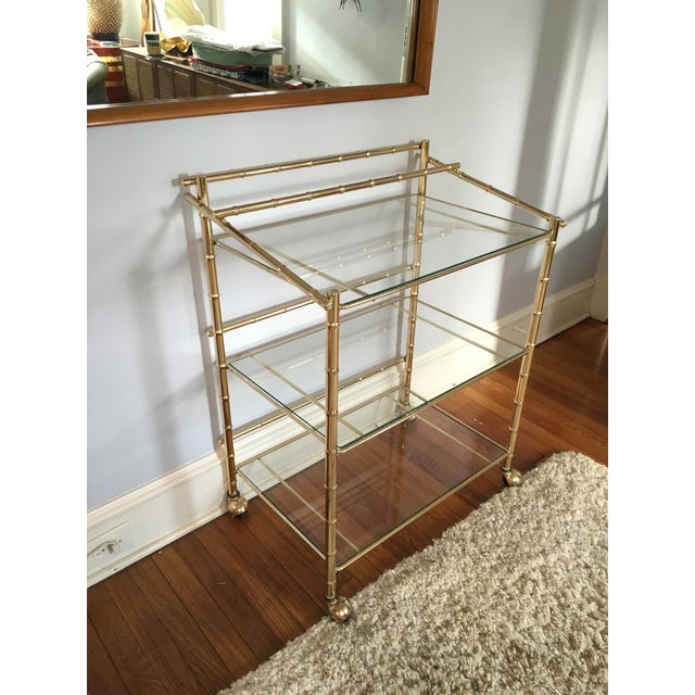 Hollywood Regency Faux Bamboo Brass Bar Cart - Image 3 of 5