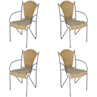 1920s Vintage Iron and Wicker Outdoor Armchairs - Set of 4 For Sale