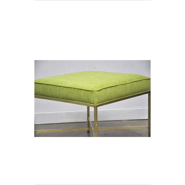 Brass X-Base Stools with Chartreuse Upholstery by Paul McCobb - a Pair For Sale In Chicago - Image 6 of 7