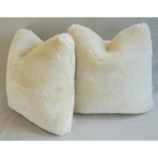 Plush Creamy Ivory Lambswool Pillows - Pair - Image 7 of 8