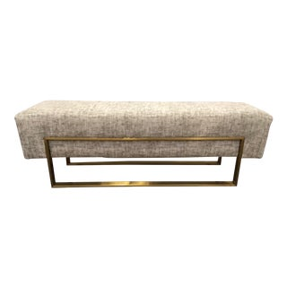 Caracole Modern Approach the Bench Gray and Brass Bench For Sale