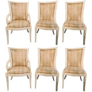 Enrique Garcel Bone Tessellated Dining Chairs, Karl Springer - Set of 6 For Sale