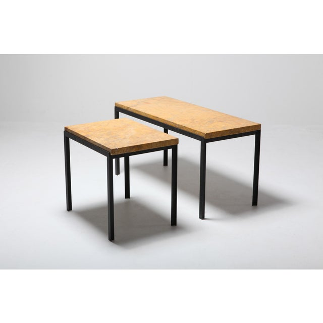 1960s Florence Knoll Marble & Black Steel Side Tables For Sale - Image 5 of 10