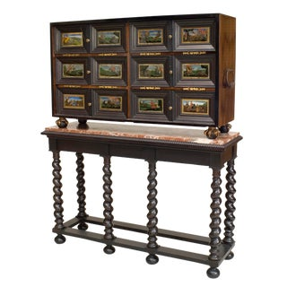 Continental Ebonized & Painted Glass Cabinet For Sale