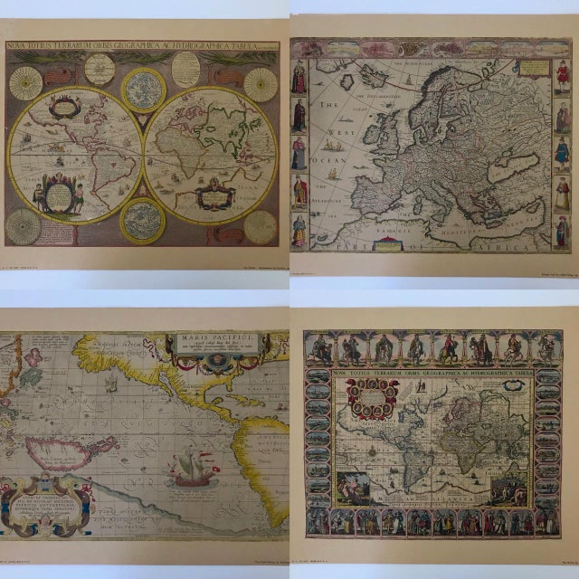 Interesting collection of four of the most famous historical maps, vintage lithographs by D A C Inc, NY, New York. Each...